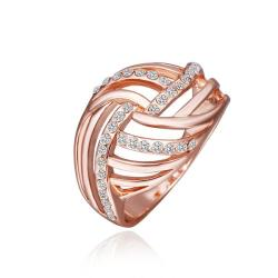 Vienna Jewelry Rose Gold Plated Diamond Crystal Swirl Ring Size 8 - Thumbnail 0