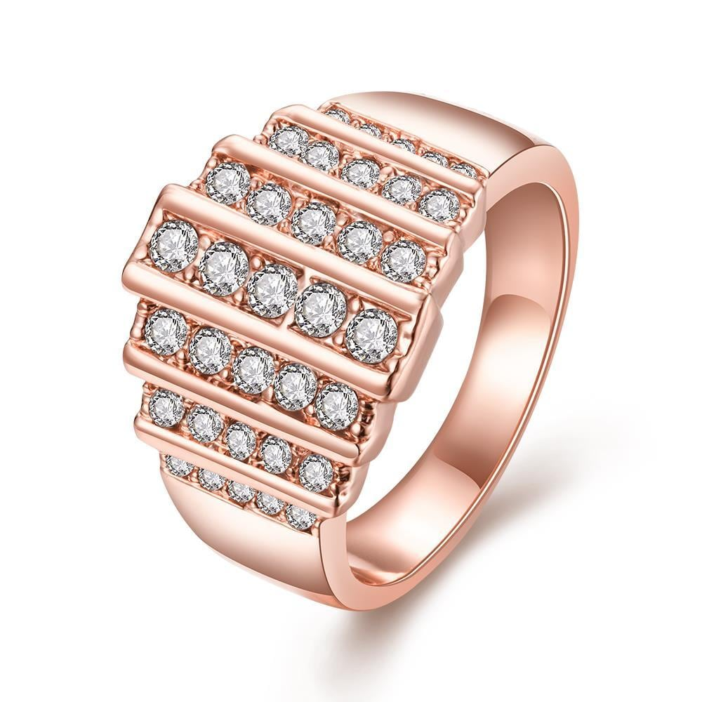 Vienna Jewelry Rose Gold Plated Muli Lined Jewels Covering Ring Size 7