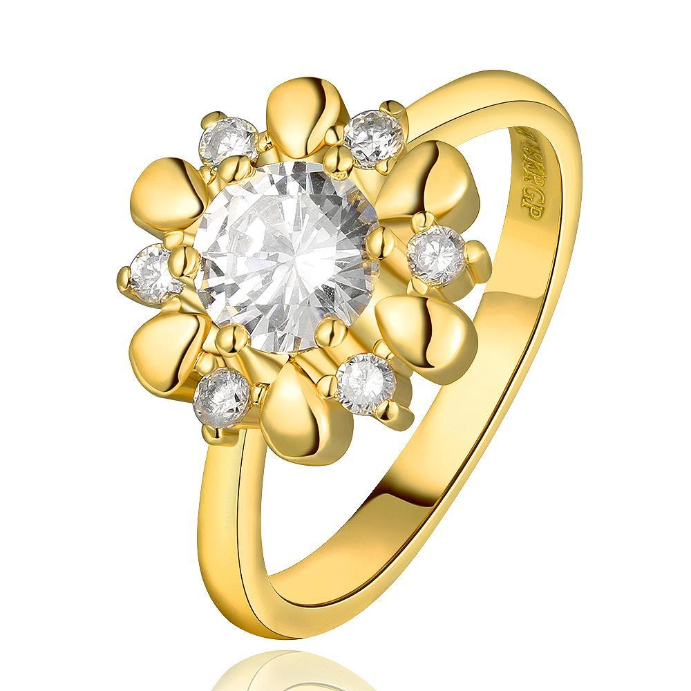 Vienna Jewelry Gold Plated Petite Snowflake Covered with Jewels Ring Size 8