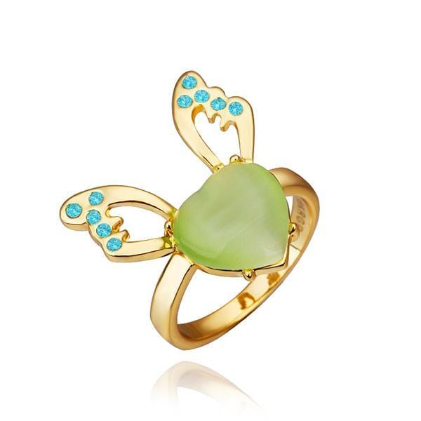 Vienna Jewelry Gold Plated Emerald Gem Butterfly Ring Size 8