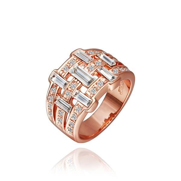 Vienna Jewelry Rose Gold Plated Vertical Bar Ring Size 8
