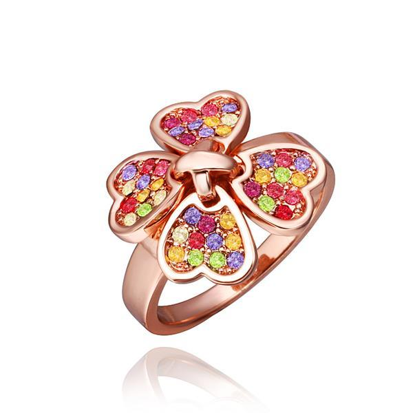 Vienna Jewelry Rose Gold Plated Petite Rainbow Clover Ring Size 8