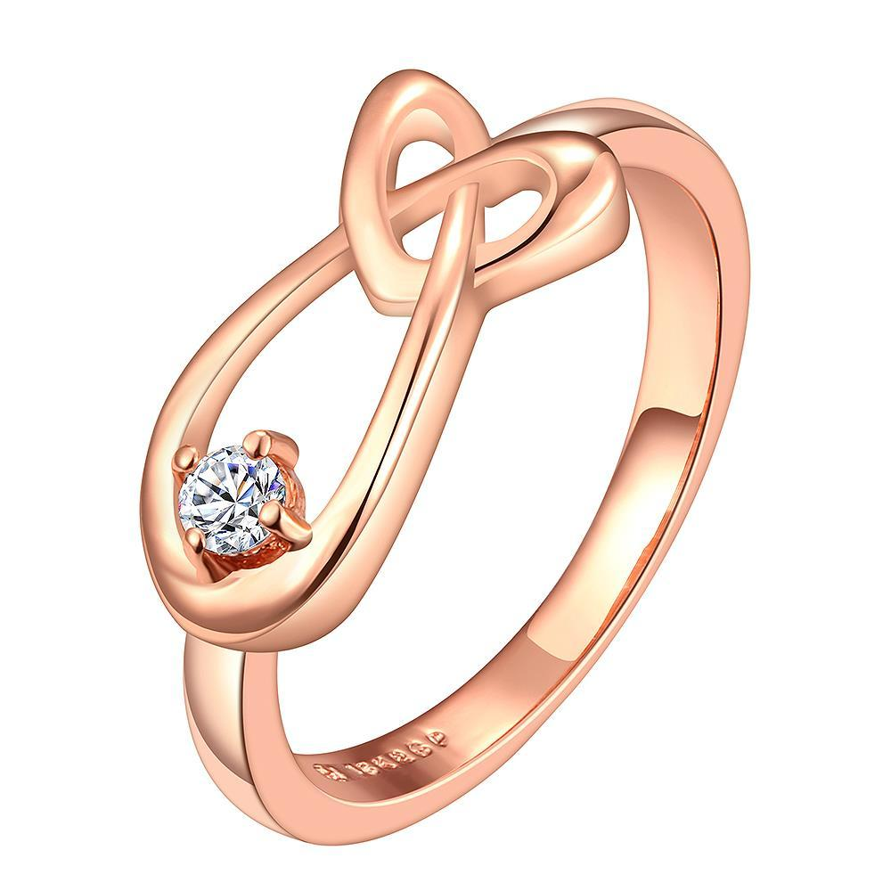 Vienna Jewelry Rose Gold Plated Abstract Curved Matrix Loop Ring Size 6