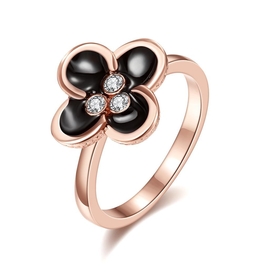 Vienna Jewelry Rose Gold Plated Quad-Clover Stud Ring Size 7