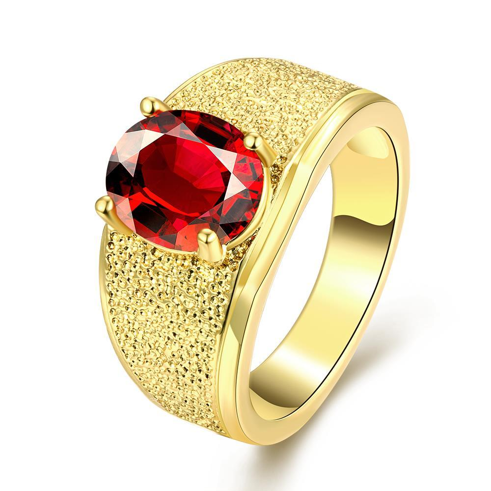 Vienna Jewelry Gold Plated Thick Cut Ring with Mini Gemstone