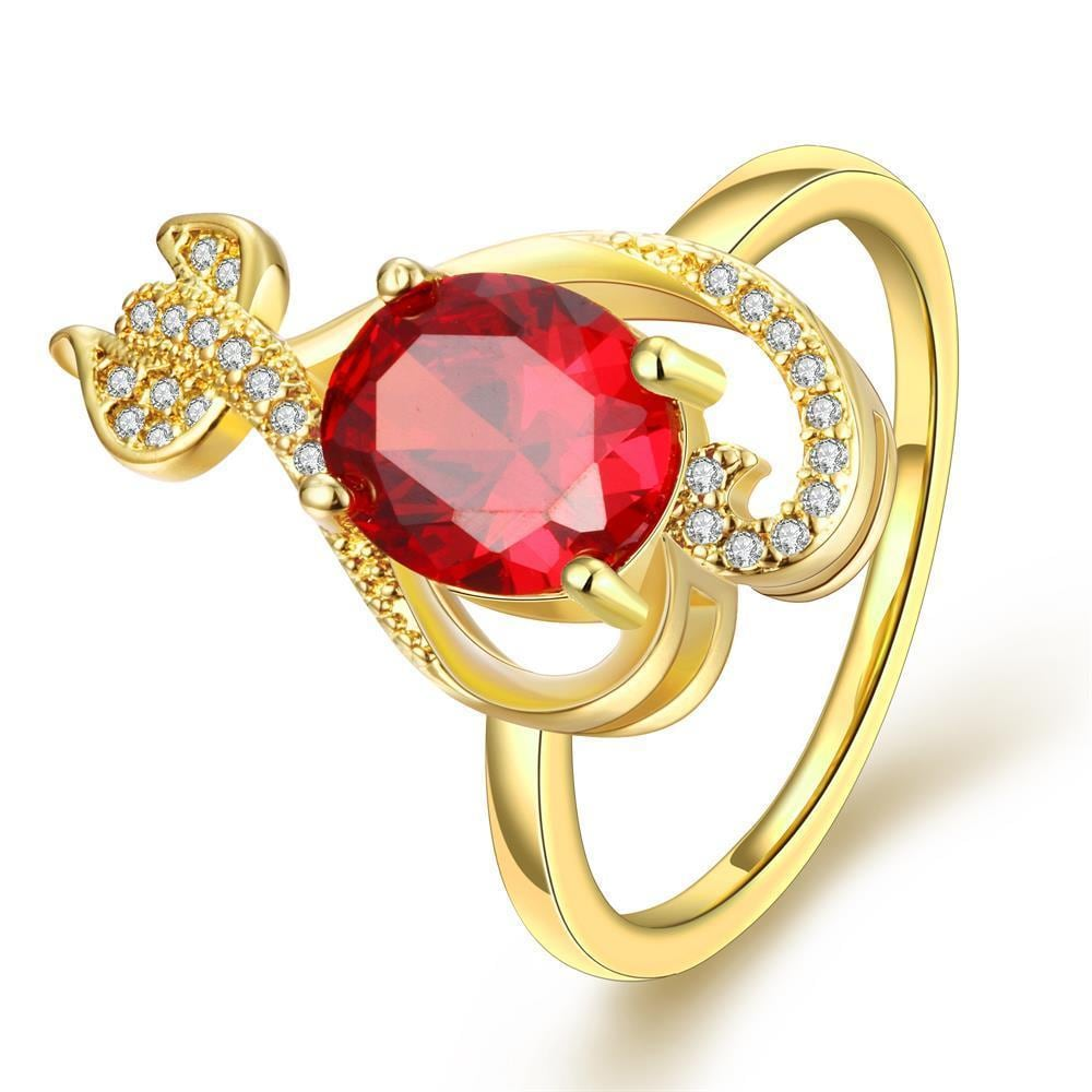 Vienna Jewelry Gold Plated Ruby Inspired Tail Whip Ring Size 8