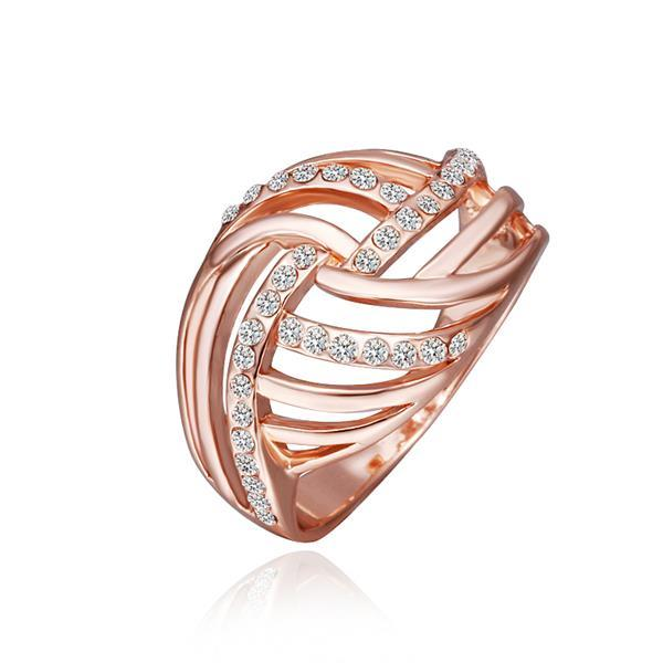 Vienna Jewelry Rose Gold Plated Diamond Crystal Swirl Ring Size 8