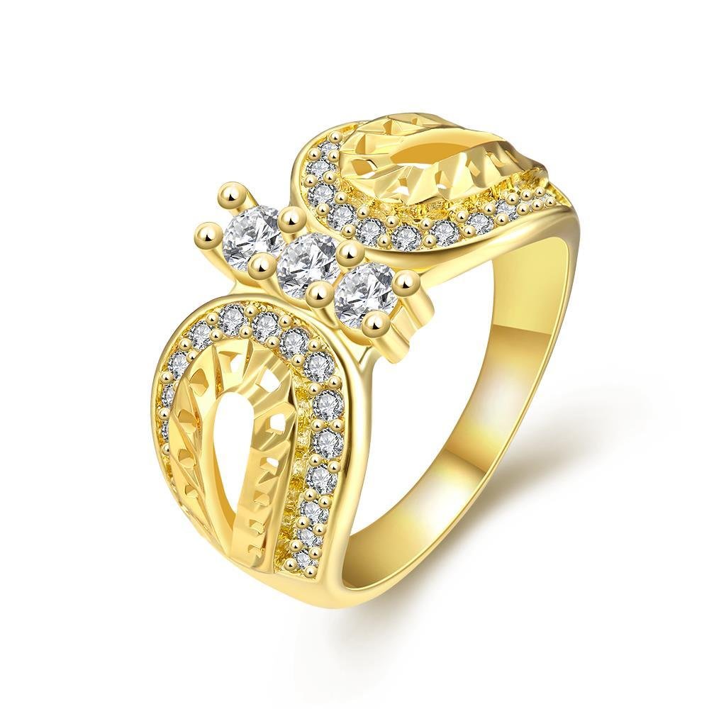 Vienna Jewelry Gold Plated Double Curved Shaped Ring