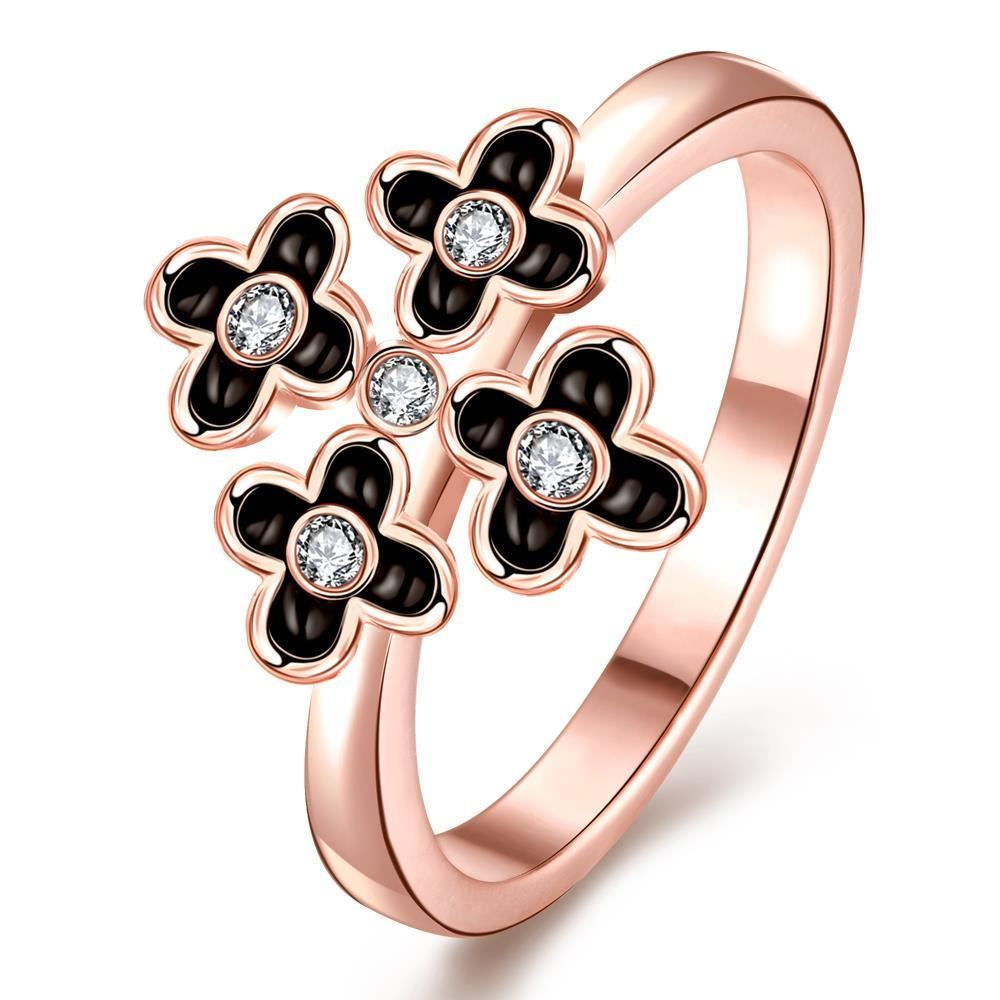 Vienna Jewelry Rose Gold Plated Quad-Petite Clover Cocktail Ring Size 7
