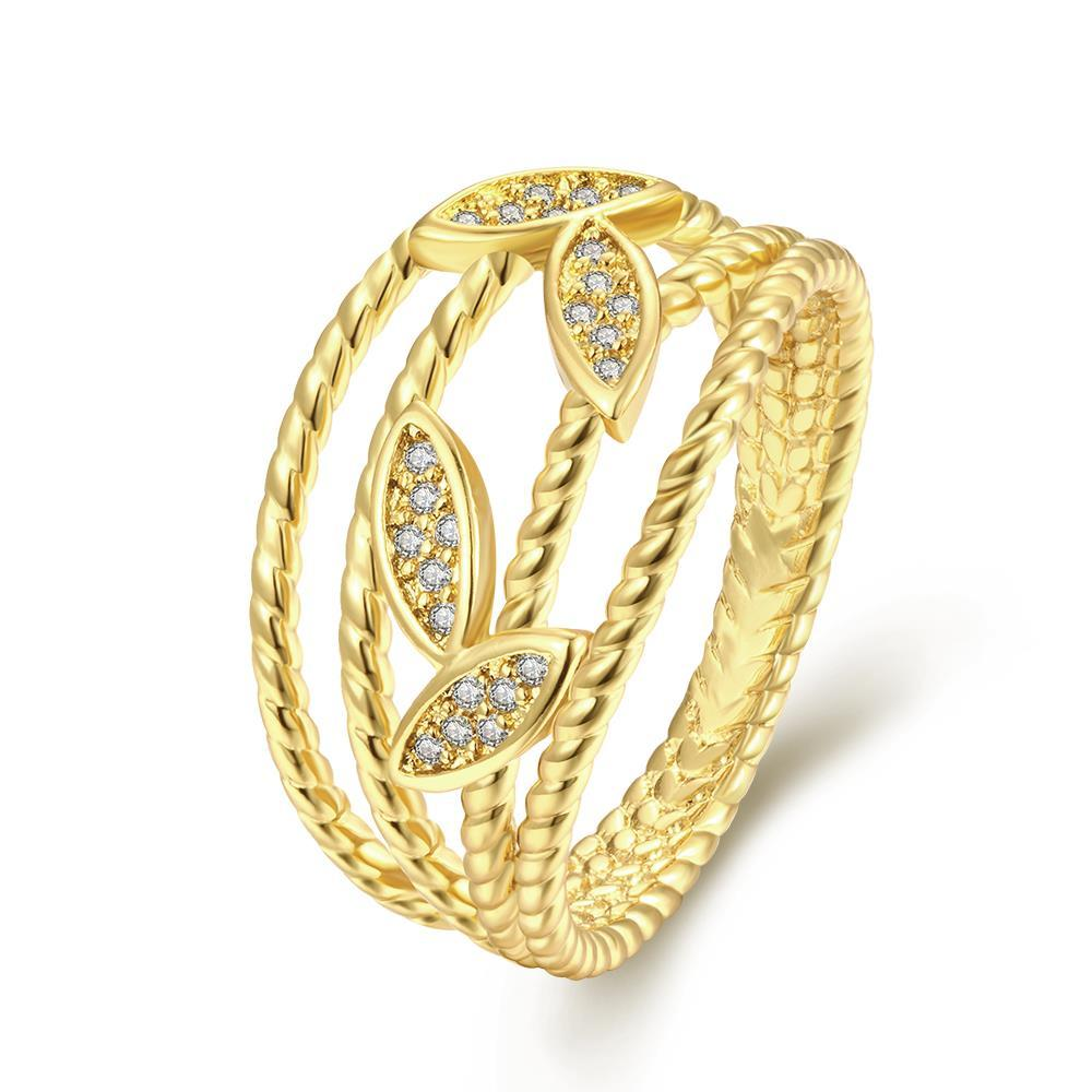 Vienna Jewelry Gold Plated Grape Vine Classical Ring