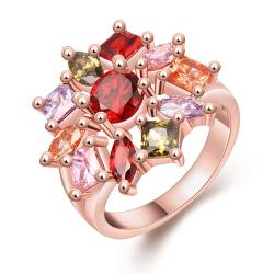 Vienna Jewelry Gold Plated Rainbow Gems Floral Ring - Thumbnail 0