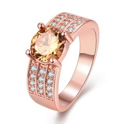 Vienna Jewelry Gold Plated Trio-Crystal Lined Ring - Thumbnail 0
