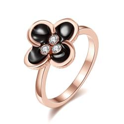 Vienna Jewelry Rose Gold Plated Quad-Clover Stud Ring Size 7 - Thumbnail 0