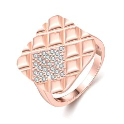 Vienna Jewelry Gold Plated Square Faced Desinger Ring - Thumbnail 0