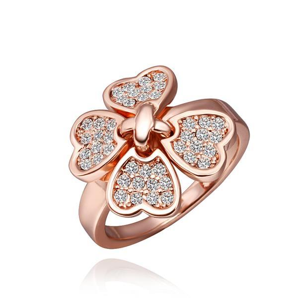 Vienna Jewelry Rose Gold Plated Petite Clover Ring Size 8