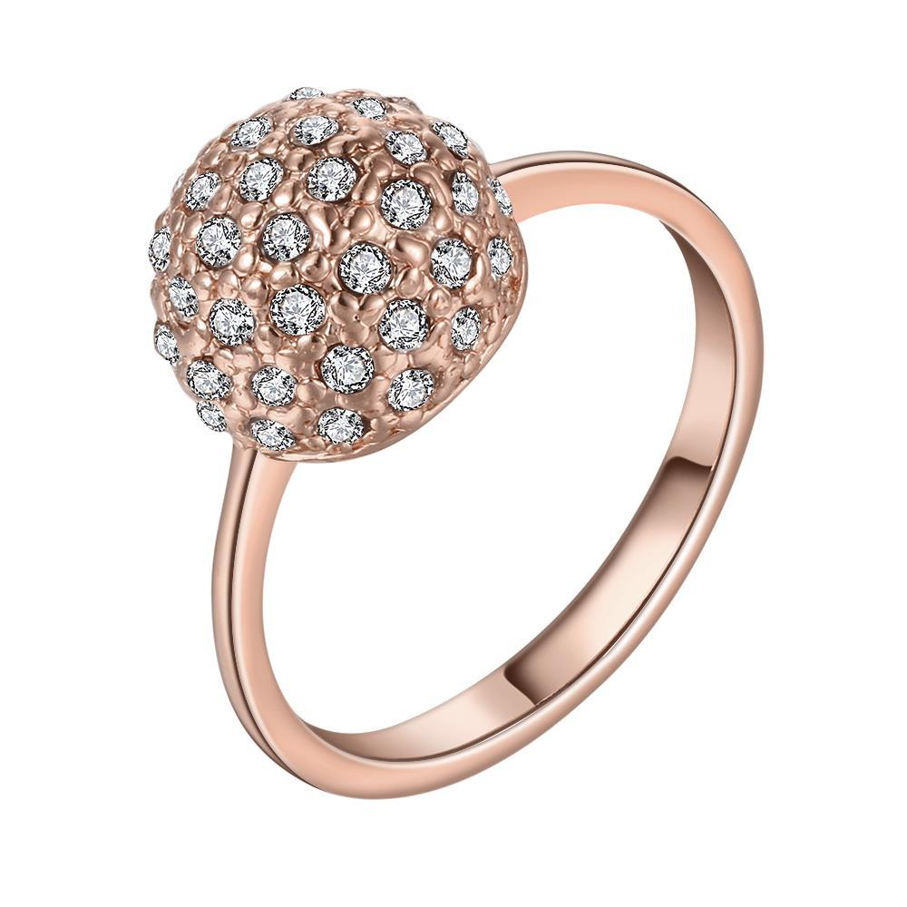 Vienna Jewelry Rose Gold Plated Pav'e Crystal Covered with Jewels Ring Size 8