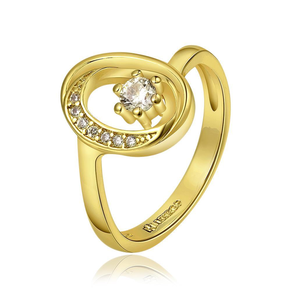 Vienna Jewelry Gold Plated Petite Circular Emblem with Crystal Jewel Ring Size 8