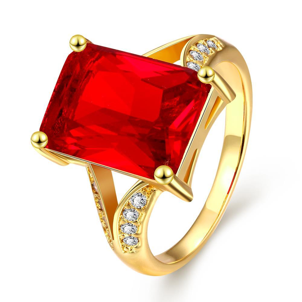 Vienna Jewelry Gold Plated Thick Ruby Cut Ring