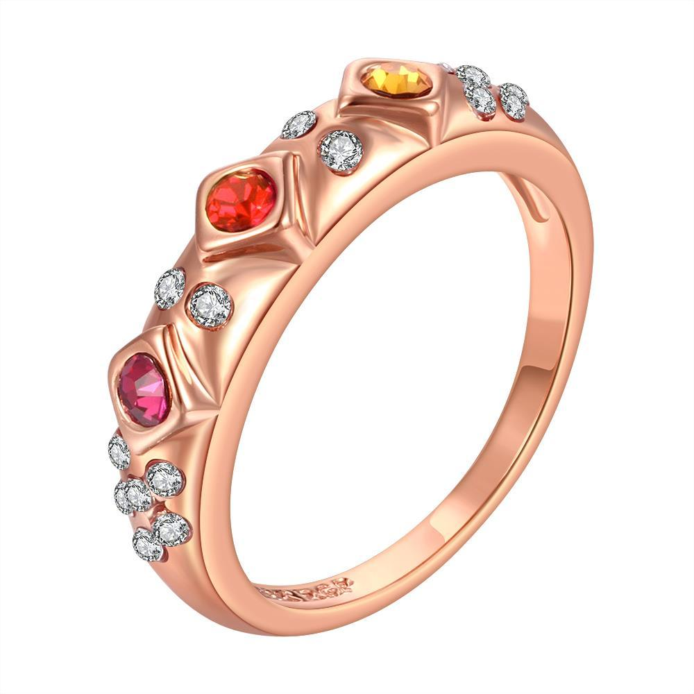 Vienna Jewelry Rose Gold Plated Rainbow Jewels Lining Ring Size 8