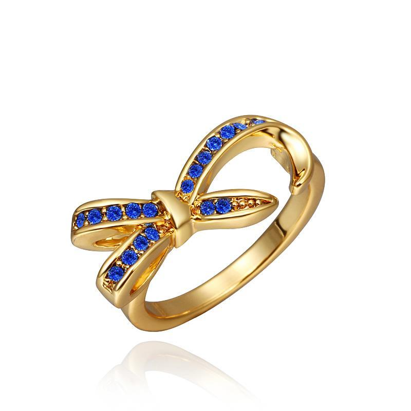 Vienna Jewelry Gold Plated Saphire Jewels Bowtie Ring Size 8