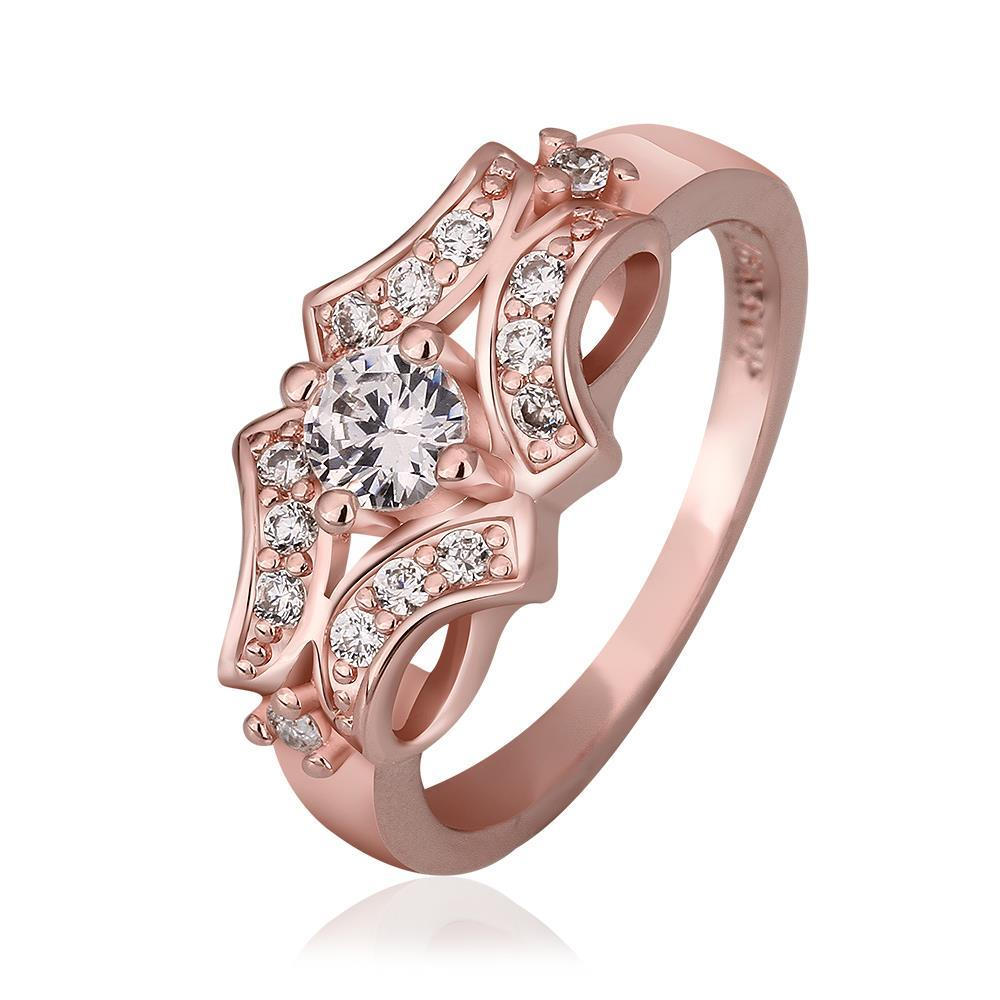 Vienna Jewelry Rose Gold Plated Blossoming Design Ring Size 8