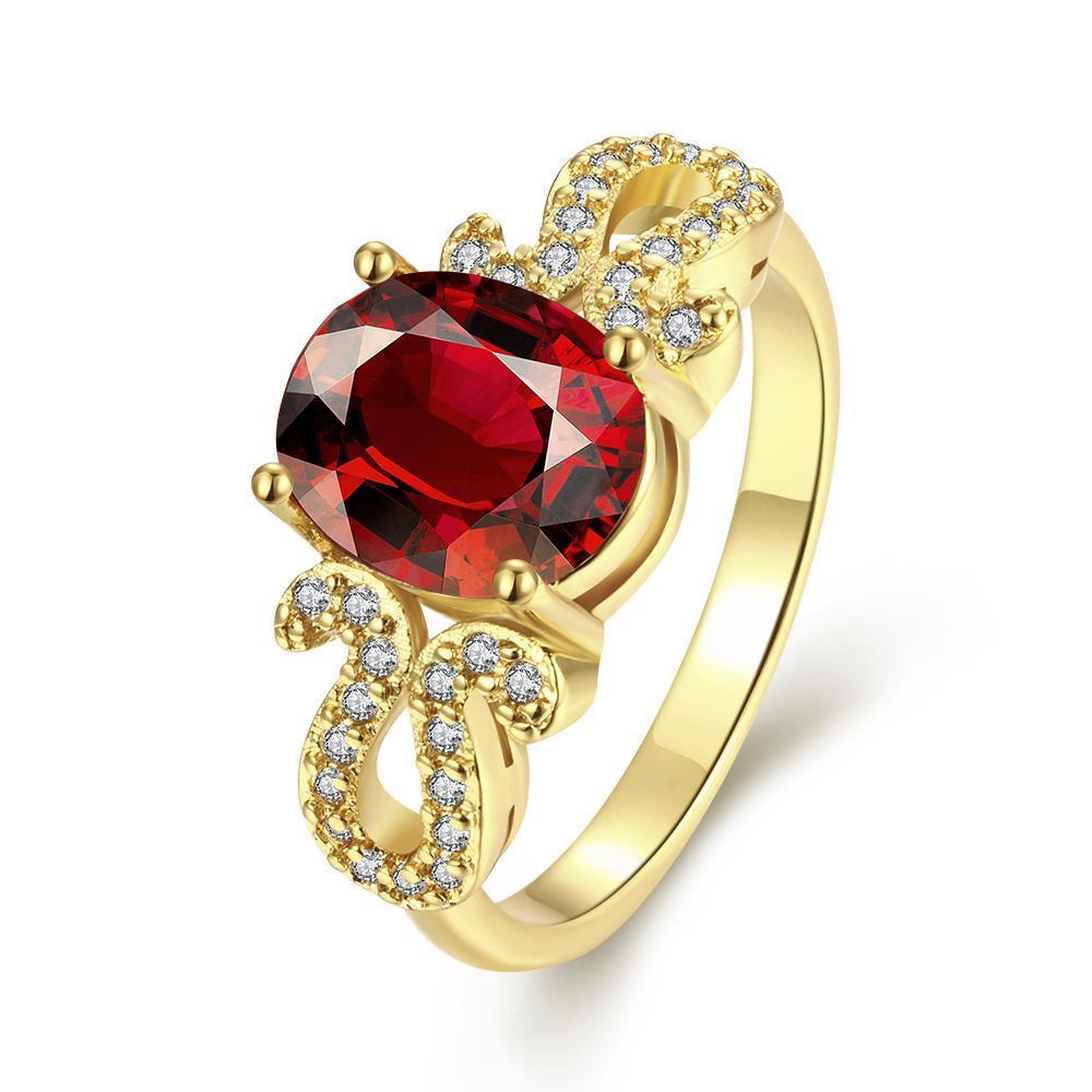 Vienna Jewelry Gold Plated Gemstone Swirl Design Ring