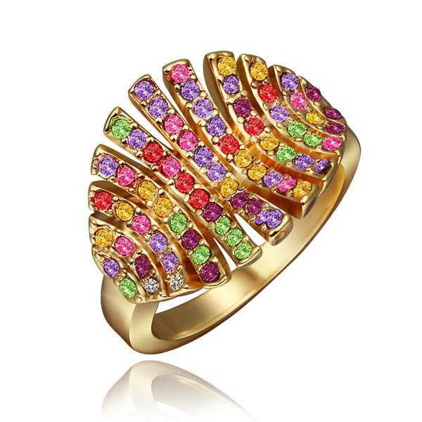 Vienna Jewelry Gold Plated Open Cut Rainbow Leaf Branch Ring Size 8