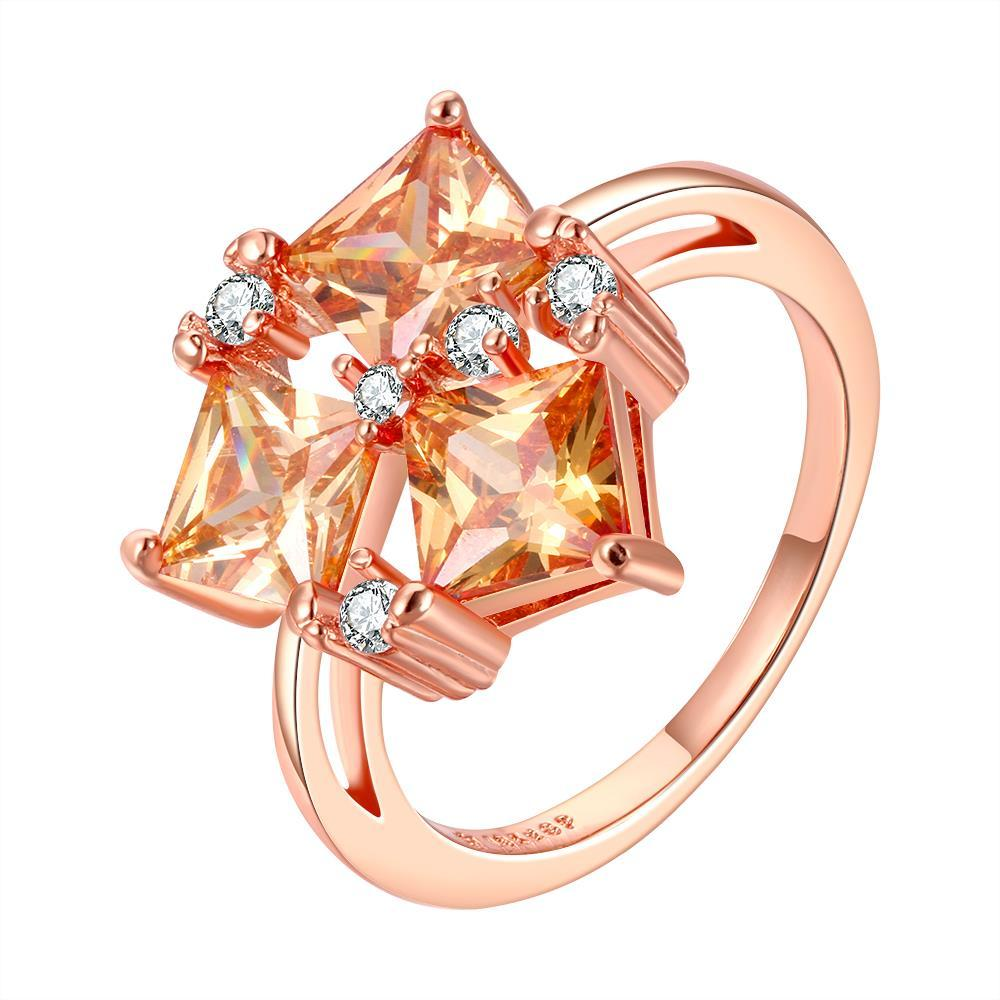 Vienna Jewelry Orange Citrine Center Piece Rose Gold Plated Ring Size 8