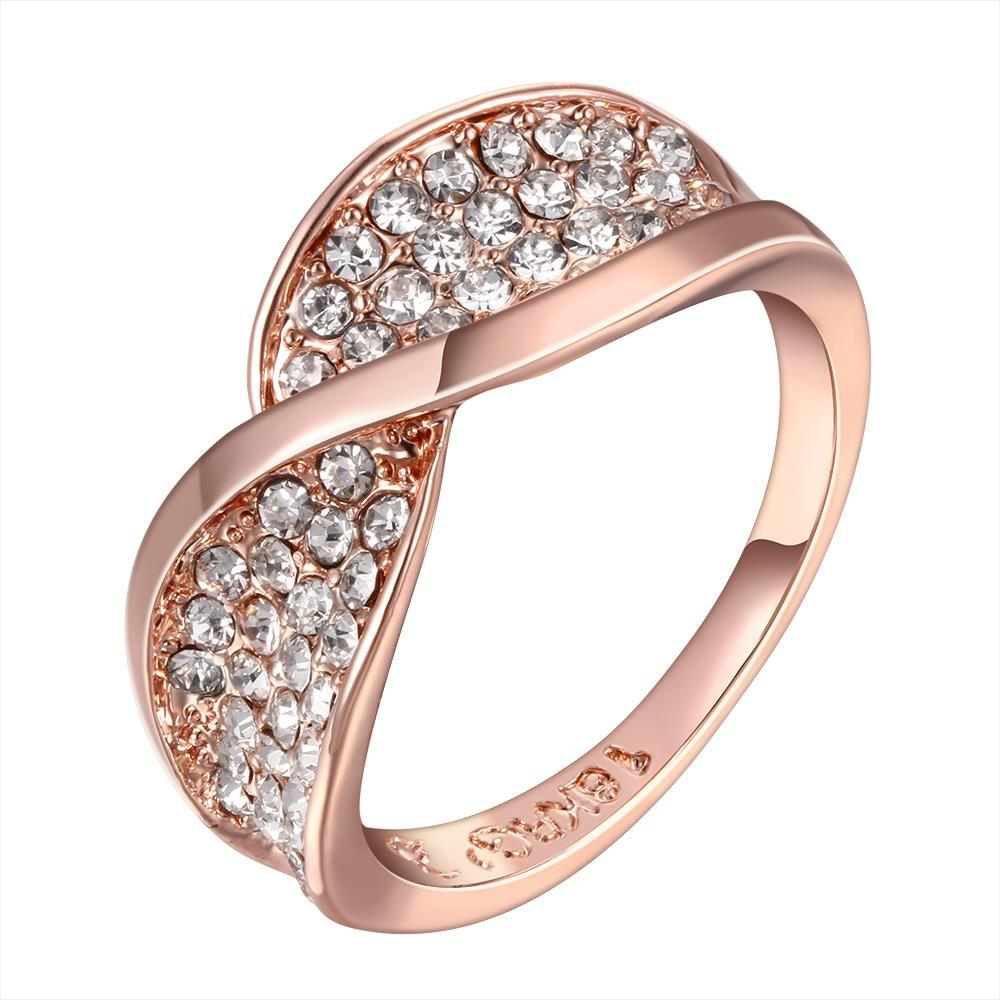 Vienna Jewelry Rose Gold Plated Swirl Design Ring Jewels Crusted Size 8