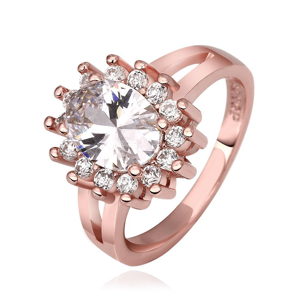 Vienna Jewelry Rose Gold Plated Crystal Center Cocktail Ring Size 7