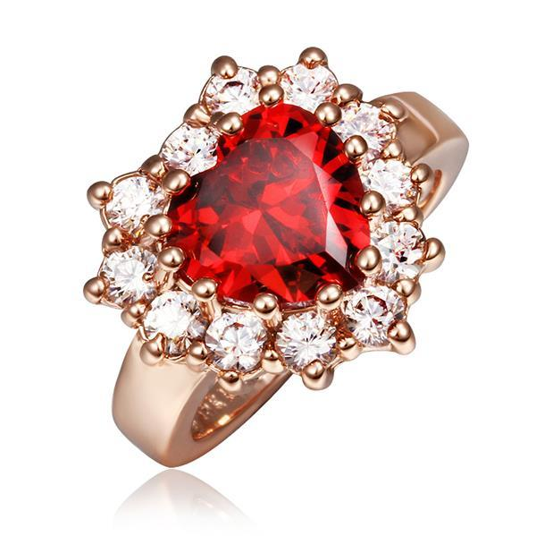 Vienna Jewelry Rose Gold Plated Ruby Red Jewel with Crystal Covering Ring Size 8
