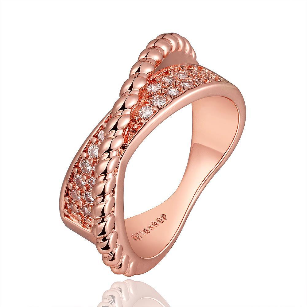 Vienna Jewelry Rose Gold Plated Curved Bead Line Ring Size 8