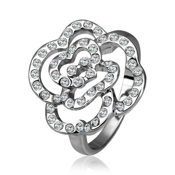Vienna Jewelry White Gold Plated Laser Cut Blossoming Floral Ring Size 8