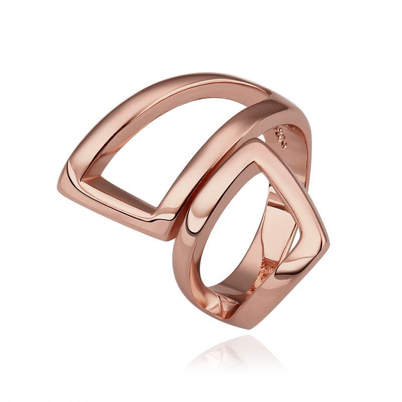 Vienna Jewelry Rose Gold Plated Abtract Angular Ring Size 8
