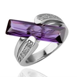 Vienna Jewelry White Gold Plated Horizontal Purple Citrine Bar Ring Size 8 - Thumbnail 0