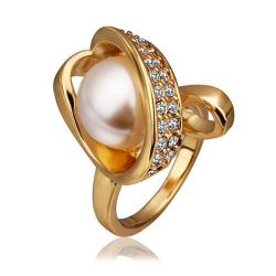 Vienna Jewelry Gold Plated Blossoming Pearl Twisted Ring Size 8 - Thumbnail 0