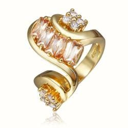 Vienna Jewelry Gold Plated Swirl Modern Twist Design Ring Size 8 - Thumbnail 0