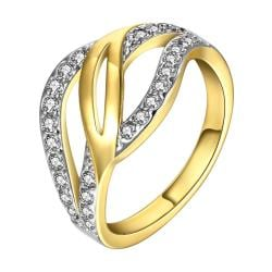 Vienna Jewelry Gold Plated Swirl Design Crystal Ring with Jewels Covering Size 8 - Thumbnail 0