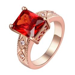 Vienna Jewelry Gold Plated Classical Cube Ruby Ring - Thumbnail 0