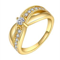 Vienna Jewelry Gold Plated Crystal Lining Ring Size 8 - Thumbnail 0