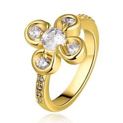 Vienna Jewelry Gold Plated Quad-Clover Jewel Ring Size 8 - Thumbnail 0