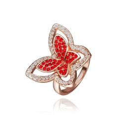Vienna Jewelry Rose Gold Plated Ruby Red Flying Butterfly Ring Size 8 - Thumbnail 0