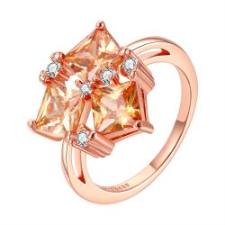 Vienna Jewelry Orange Citrine Center Piece Rose Gold Plated Ring Size 8 - Thumbnail 0
