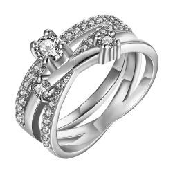 Vienna Jewelry White Gold Plated Swirl Design Ring with Jewels Covering Size 7 - Thumbnail 0