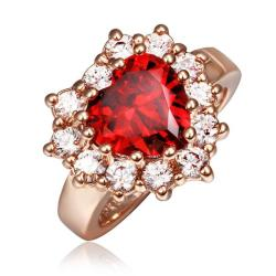 Vienna Jewelry Rose Gold Plated Ruby Red Jewel with Crystal Covering Ring Size 8 - Thumbnail 0
