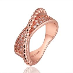 Vienna Jewelry Rose Gold Plated Curved Bead Line Ring Size 8 - Thumbnail 0