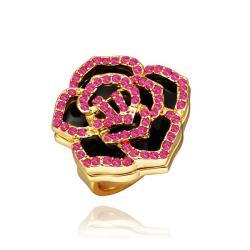 Vienna Jewelry Gold Plated Ruby Jewels Covering Floral Ring Size 8 - Thumbnail 0