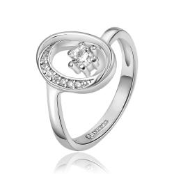 Vienna Jewelry White Gold Plated Petite Circular Emblem with Crystal Jewel Ring Size 8 - Thumbnail 0