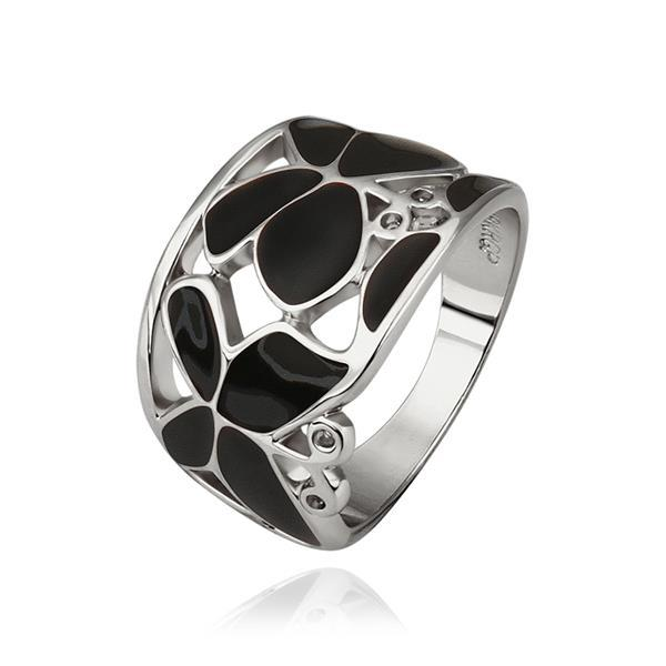 Vienna Jewelry White Gold Plated Onyx Layering Laser Cut Ring Size 8