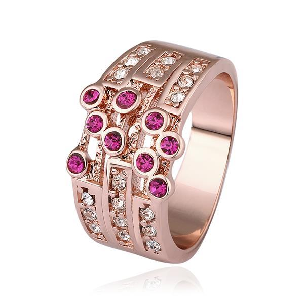 Vienna Jewelry Rose Gold Plated Greek Design Inspired Ring with Coral Jewels Size 8